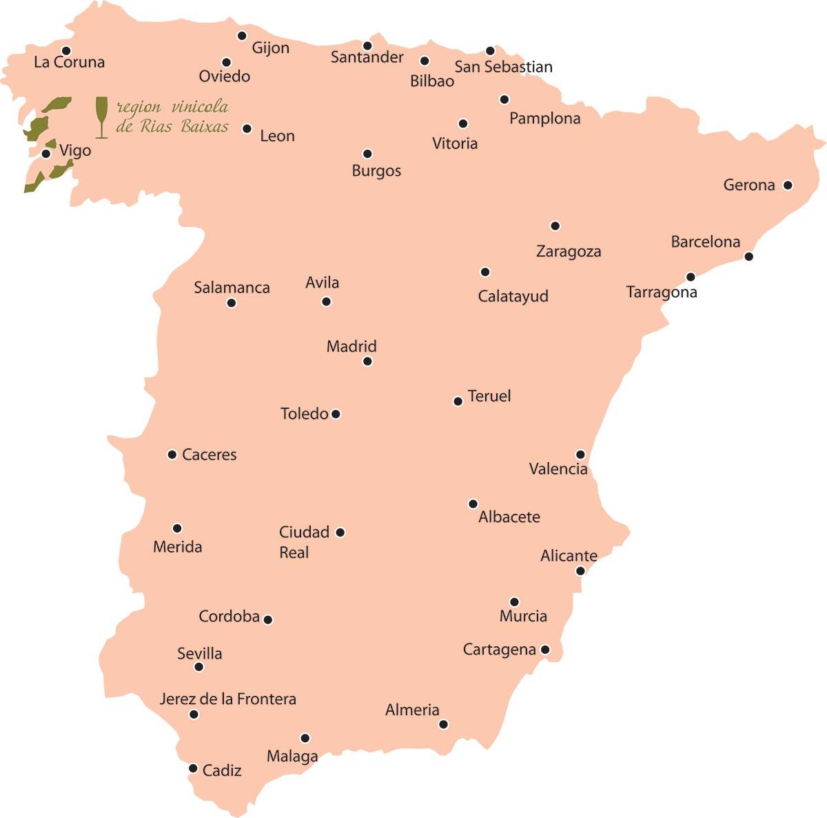 אזור ריאס באייסאס ממוקם בפינה השמאלית העליונה של ספרד